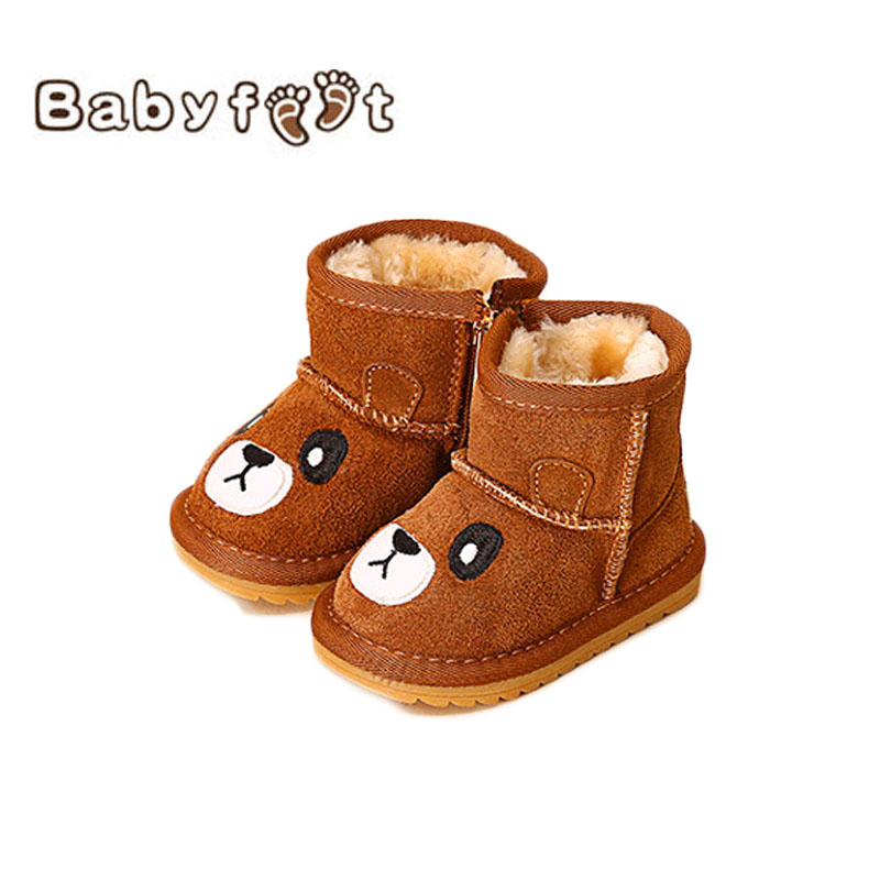 цены  Babyfeet New Winter Warm Boots Newborn Baby Boys Girls Cute Shoes Infant Toddler Soft Sole Anti-slip Snow Booties Size3.5-11