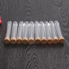 Tubo de ensayo de plástico transparente, 50 unidades/lote, 18x105mm, con tapón de corcho, fondo redondo, material educativo para laboratorio escolar
