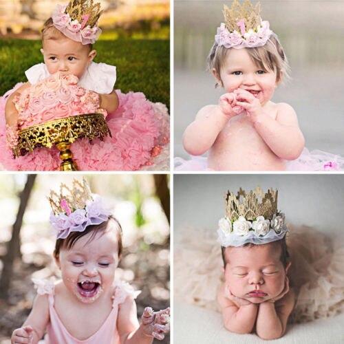 2018 Brand New Cute Kids Baby Girls Boys Princess Tiara Crown 1st Birthday Headband Party Hair Band Lace Tulle Flower   Headwear