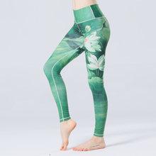 0c760e600c220 Women High Waist Yoga Legging Sports Tight Fitness Pants Slim Running  Leggings Sport Trousers Lady 2018 Flower Printed Pants
