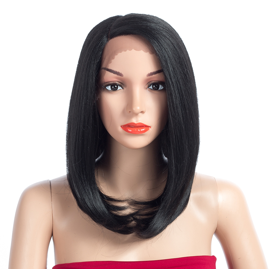 Aigemei Lace Front Wigs 14 Inch 160g Extension Heat Resistant Synthetic Fiber Black Short BoBo Wig