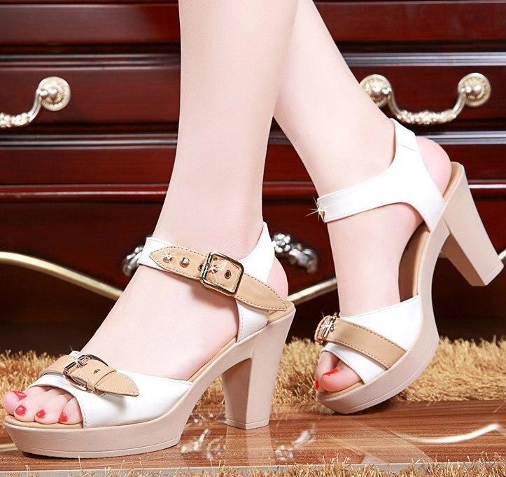 Summer buckle strap sandals women heels pumps open toe high heels festival party wedding shoes formal pumps chunky sandals in High Heels from Shoes