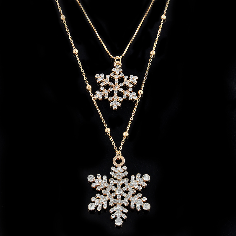 Fashion gold rhinestone snowflake pendant long chian necklace fashion gold rhinestone snowflake pendant long chian necklace sweater chain double layers necklace pendant free shipping in chain necklaces from jewelry aloadofball Images