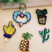 The Beads Embroidery Patch for Clothing No Iron On Sew Embroidered Sew Fabric Badge Garment DIY Apparel Applique Accessories round natural embroidery patch for clothing iron on embroidered fabric badge motif garment diy apparel applique accessories