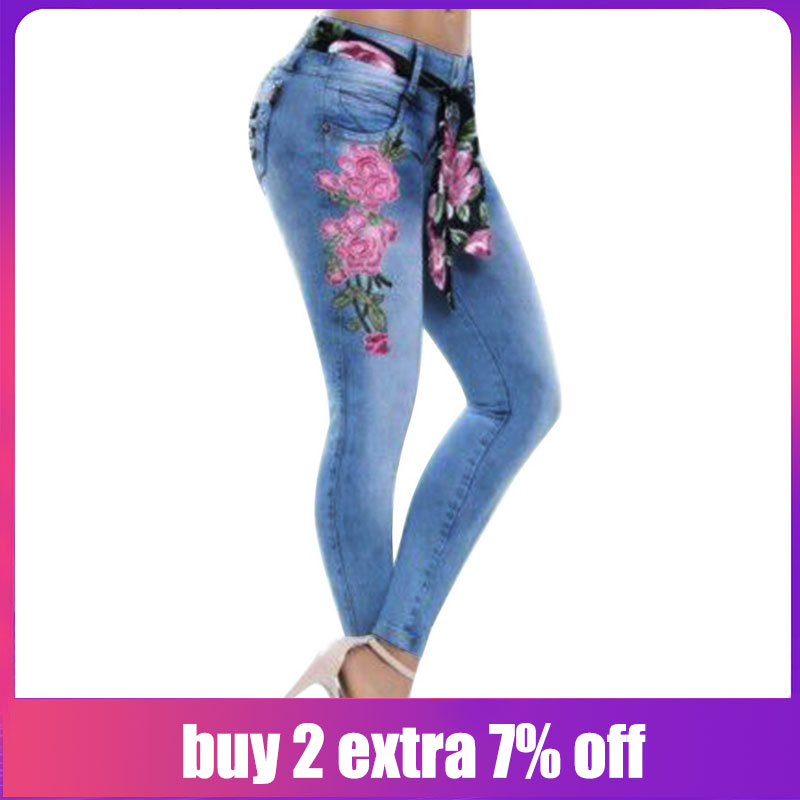 Alion Womens Pants High Waist Rose Embroidered Denim Skinny Jeans