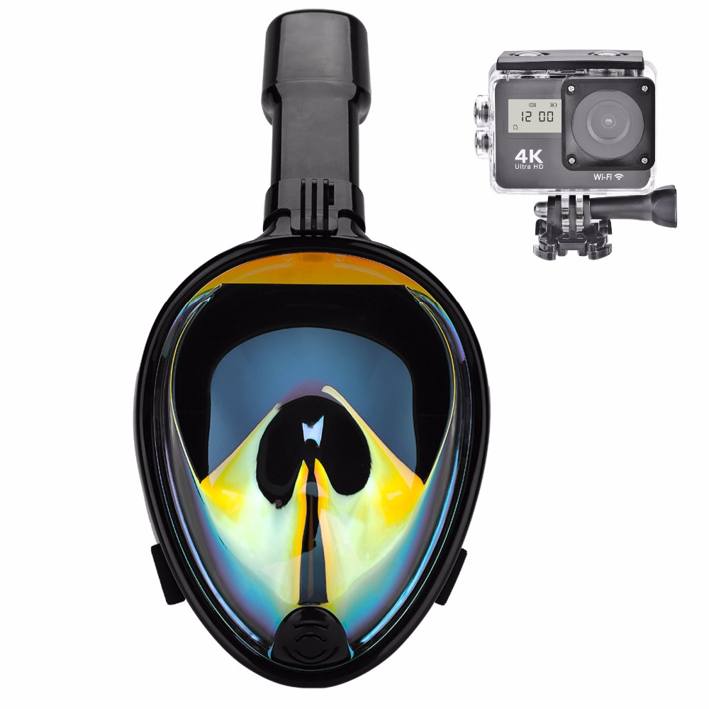 Full dry Anti fog Swimming Snorkeling Mask Underwater Scuba Diving Mask Full Face with Camera Mount