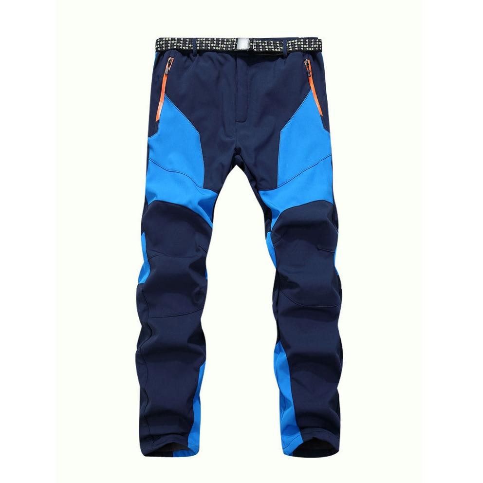 Winter Men Warm Softshell Fleece Pants Skiing Snowboard Outdoor Sport Hiking Trousers Grey Camping Climbing Breath Snow Pants