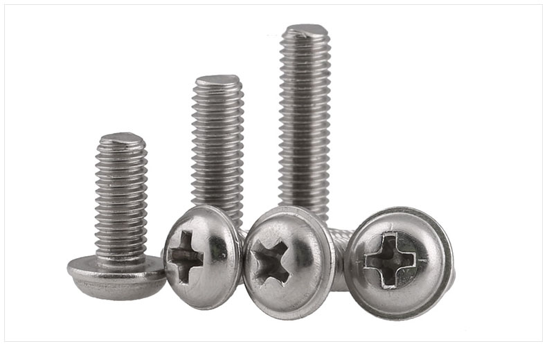 GB823 PWM 304 stainless steel round head with pad with dielectric M2 M2.5 M3 M4 M5 machine screws with pad screws