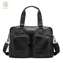 AHRI NEW Luxury Brand Handbags PU Leather Man Bag Vintage Fashion Top handle Bag For Men Solid Shoulder Men's Casual Tote Bag