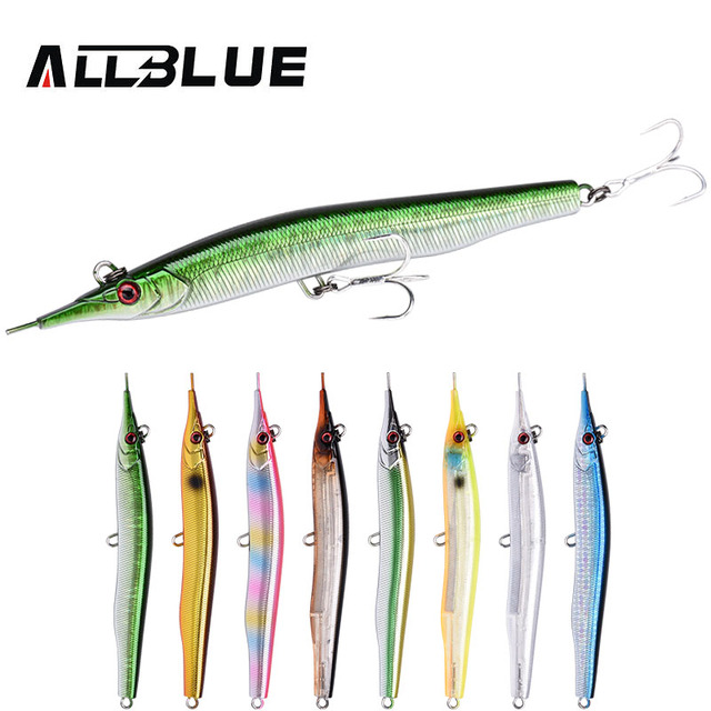 ALLBLUE Needlefish Lure Needle Stick Fishing Lure 133mm/30g Sinking Pencil 3D Eyes Artificial Bait Sea Bass Lures