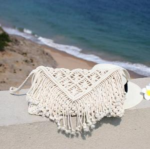 Image 5 - New 2019 tassel straw bag large clamshell cotton hand woven casual female beach bag  Knitted Messenger Bags