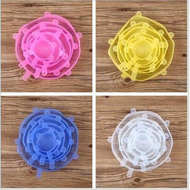 6 Pcs Food Wraps Reusable Silicone Food Fresh Keeping Sealed Covers Silicone Seal Vacuum Stretch Lids  Wraps