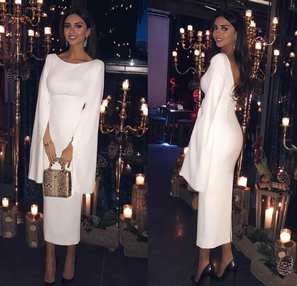 Elegant White Sheath Long Sleeves   Evening     Dresses   2019 Saudi Arabia Dubai Holiday Wear Formal Party Pageant Prom Gowns Plus Size