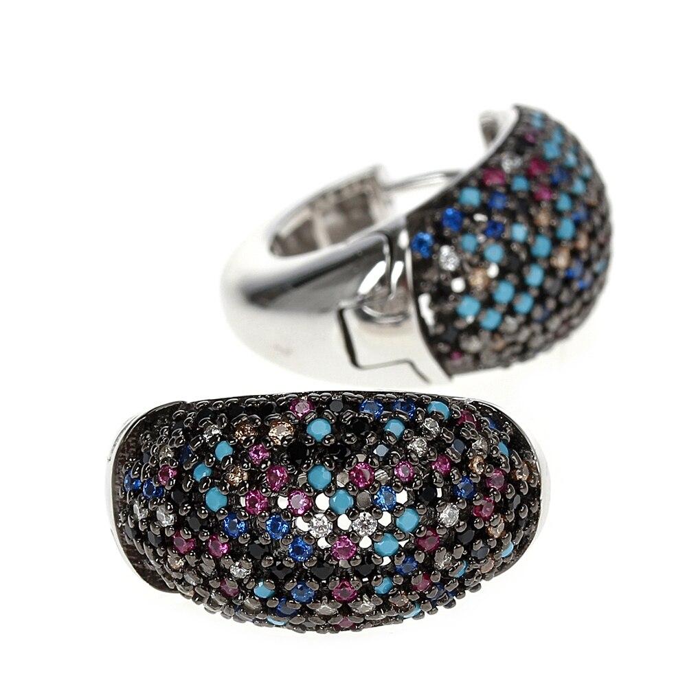 SE23738RB multi-colors cubic zirconia stone hoop earrings for women 925 sterling silver wedding jewelry (1)
