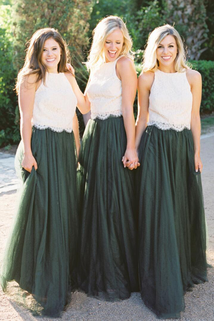 2019 Bridesmaid Dresses Tulle Ruched Dark Green Maid Of Honor Gowns Lace Wedding Party Dress