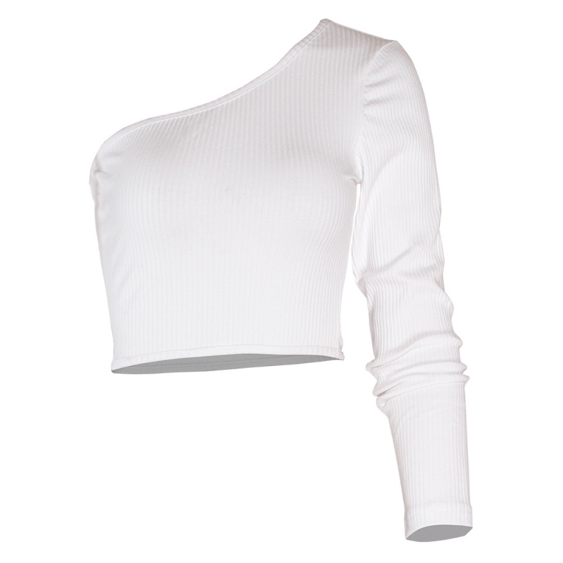 Summer new crop tops sexy womens t shirts off the shoulder tops for women one long sleeve black white casual t-shirts