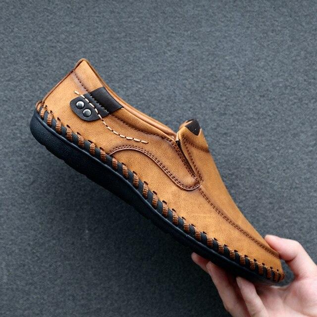 יוקרה מותג עיצוב להחליק על ופרס גברים נעליים יומיומיות אמיתי עור מוקסין סירת הליכה נעל שטוח Mannen מזדמן