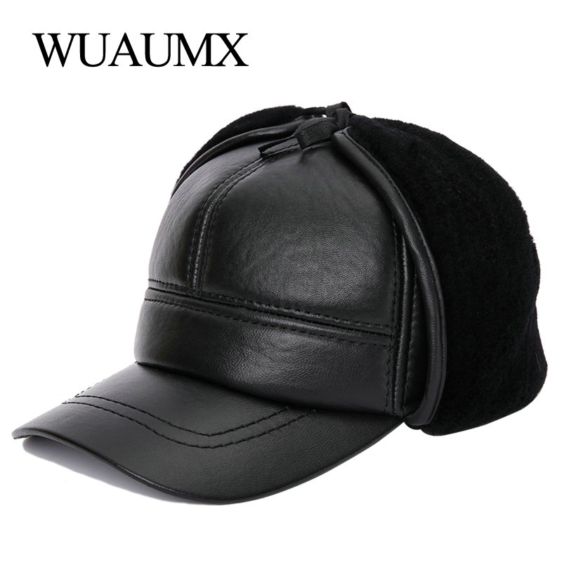 Wuaumx Sheepskin Leather Men's Baseball Caps High Quality Genuine Leather Hats For Male Winter Keep Warm Hat With Ears Earflap aorice winter genuine sheepskin leather hat brand new men s warm earmuffs hat man baseball caps leisure fashion brand hats hl030