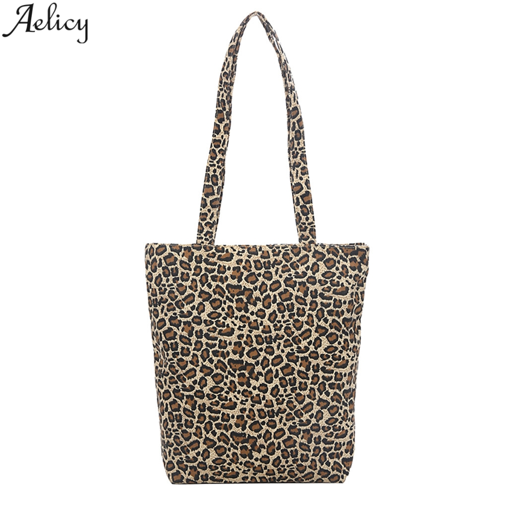 Aelicy Women Summer Leopard Designed Canvas Shoulder Bag Simple Daily Style Lightweight Bag With Zipper For Women Hot SalesAelicy Women Summer Leopard Designed Canvas Shoulder Bag Simple Daily Style Lightweight Bag With Zipper For Women Hot Sales