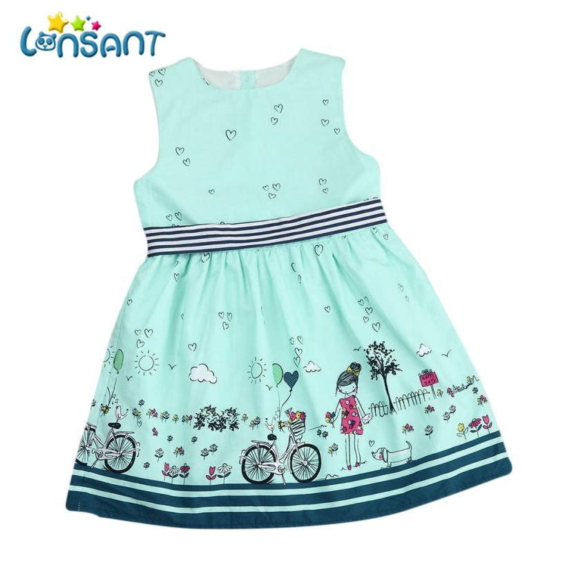 LONSANT 2018 Summer Girls Dresses Sleeveless A-Line Vestidos Print Cotton Children Clothes Baby Girl Dress Dropshipping