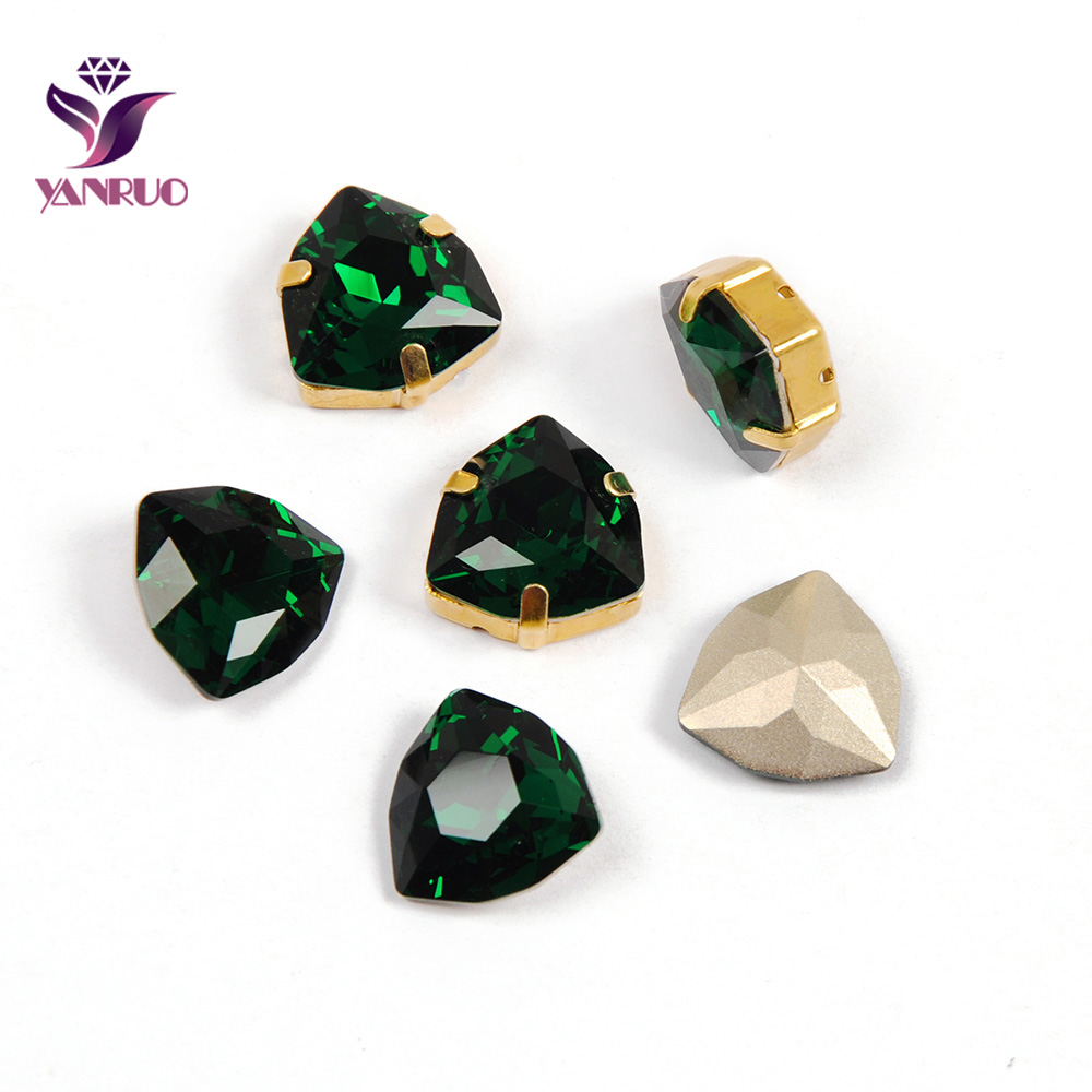 YANRUO 4706 Trilliant Emerald Settings Pointback Sewing Loose Rhinestones Strass Fancy Stones Crystals For Crafts Needwork