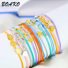 Korean Women Men Infinity Bracelet Charm Friendship Bracelets Bijoux Adjustable Silver Heart Couple & Bangle