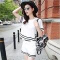 2016 Verão Novo Estilo Coreano de Slim-manga Curta Sportswear Moda Terno de Duas Peças Tops e Shorts Plus Size Elegante mulheres Definir