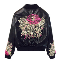 Fashion Ladies Faux Leather Jackets New Spring Autumn Short Embroidery Locomotive Pu Leather Jacket Loose Women