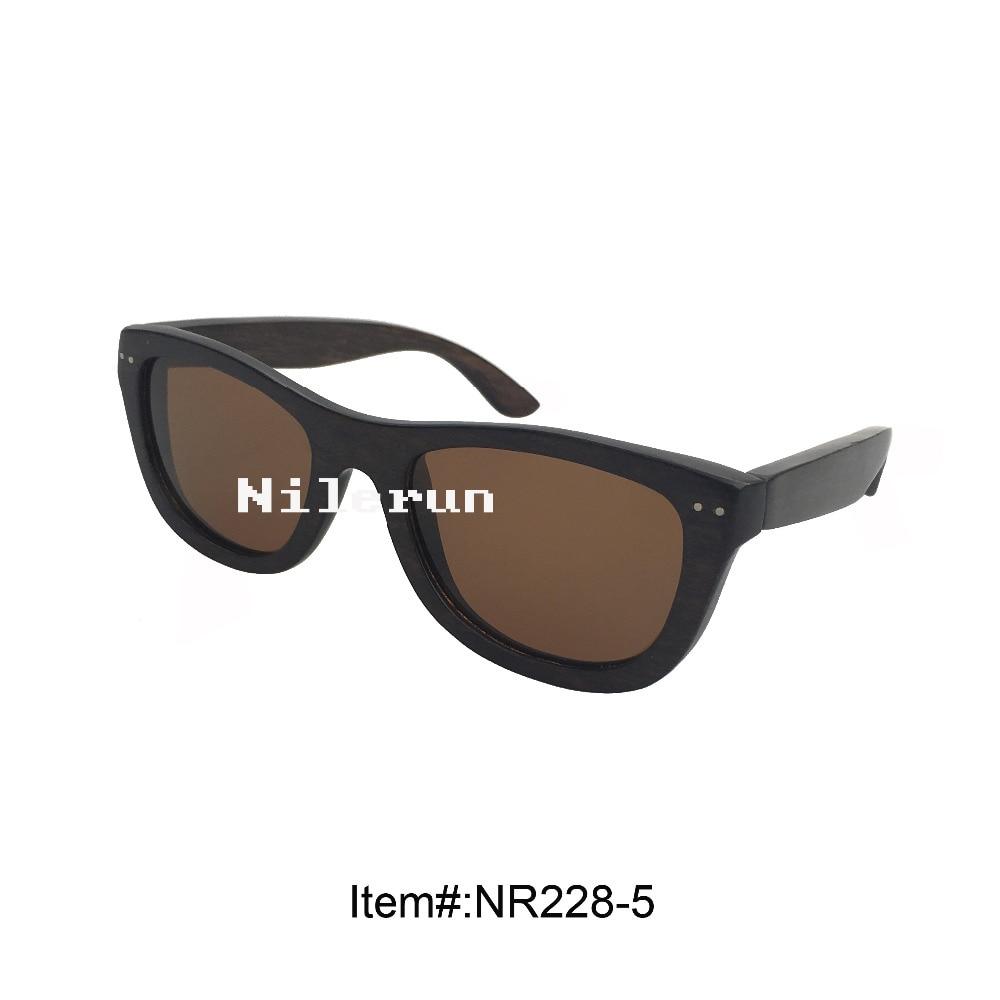 handmade black hard wood frame sunglasses with decorated metal pins