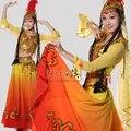Dance naranja xinjiang ropa traje de la etapa extensión de la falda de conjunto