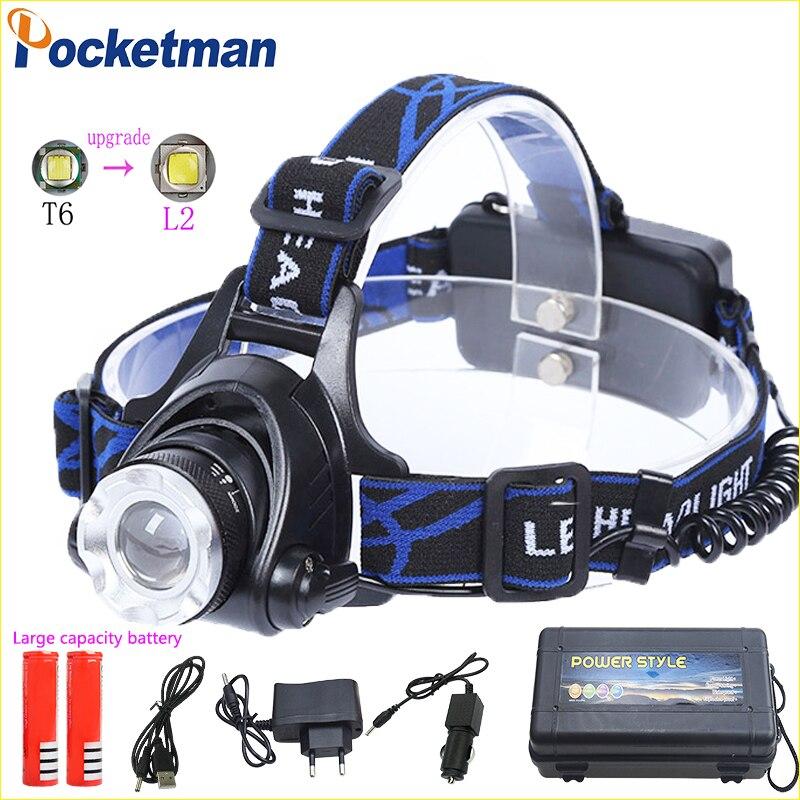 9500LM caliente led faro xmL t6 L2 faro impermeable zoom lámpara de cabeza 18650 batería recargable cabeza de la linterna antorcha luz z30