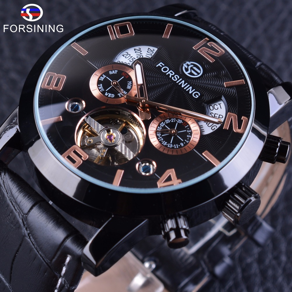 Forsining 2017 Liminous Hands Tourbillion Mechanical Watch Mens Top Brand Luxury Genuine Leather Army Military Wrist Watch Clock