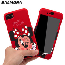ФОТО balmora cartoon 360 mickey mobile phone case for iphone 6 7 8 minnie mouse full cover pc case for iphone 6s 7 8 plus cover case