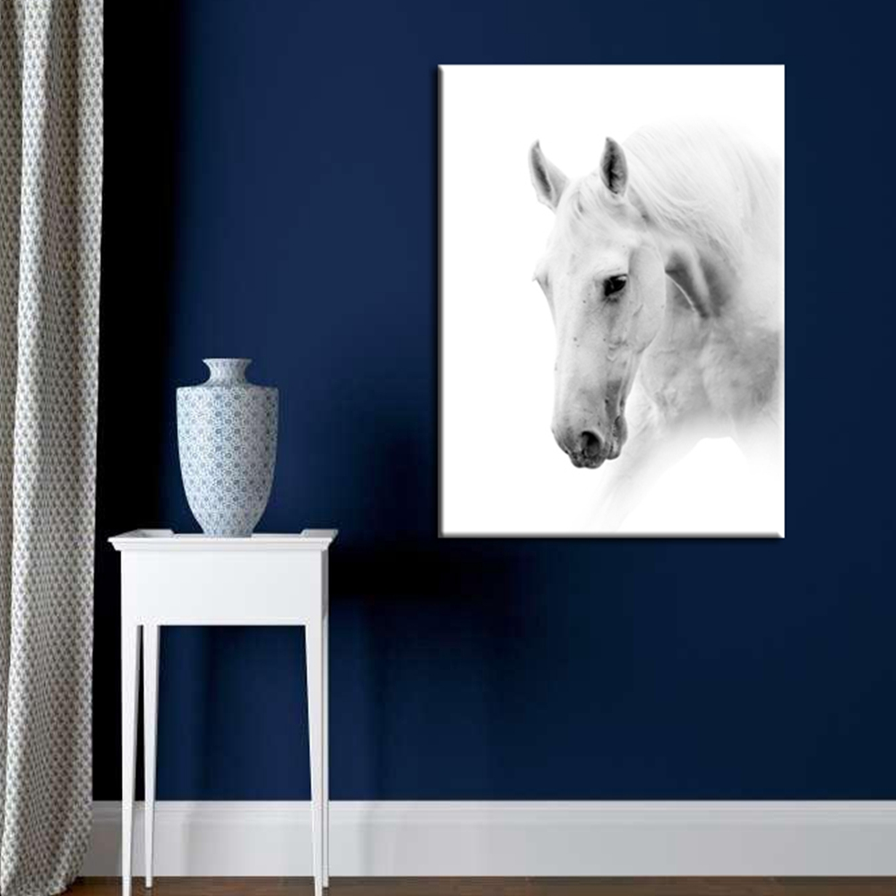Fashion Animals White and Black Horse Painting Canvas Nordic Style Modern Home Office wall Decor