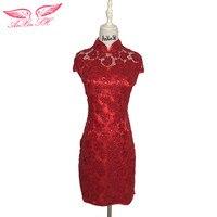 AnXin SH rode bloem kant avondjurk korte vintage prinses korte rode avondjurk dubai rode turkije korte avondjurk