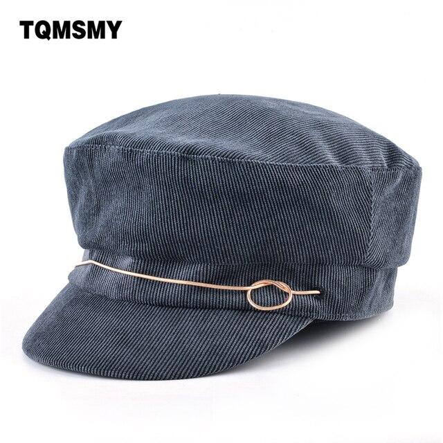 0edff455d27 TQMSMY Unisex military Hats For Men Newsboy Caps corduroy women s Flat top  baseball cap Double Layer Berets Hats Female Boina