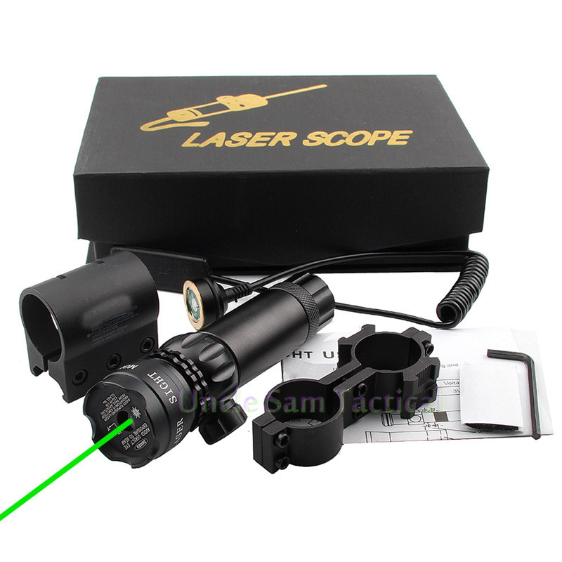 Tactical Adjustable 5mw Green Red Laser Sight Rifle Scope Riflescope Designator 20mm Mount Tail Switch For Hunting