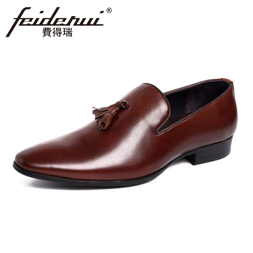 2018 Italian Designer Genuine Leather Men's Height Increasing Wedding Loafers Pointed Toe Slip on Man Casual Shoes YMX471 high end breathable men casual shoes loafers genuine leather lace up rubber handmade slip on sewing lazy shoes italian designer