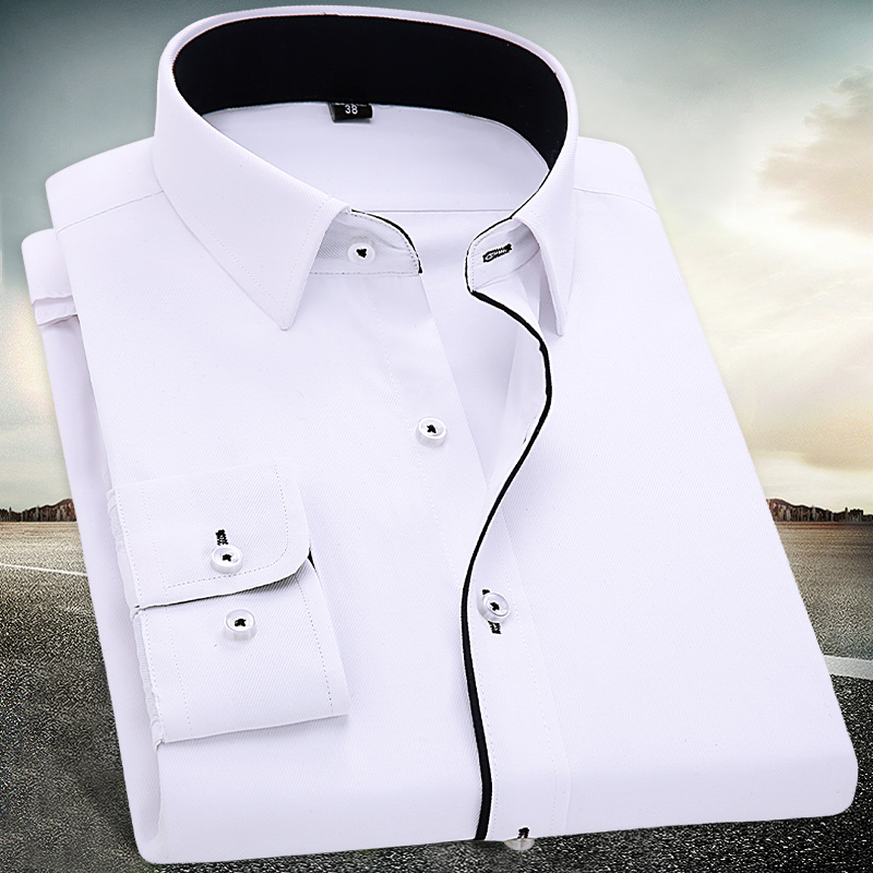 Men's White Basic Dress Shirts Long-Sleeve Contrasted Placket Male Tops Office Wear Formal Business Slim-fit Casual Twill Shirt