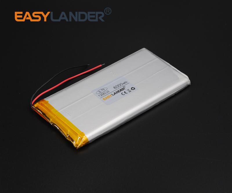 3.7V 6000mAh 7256110 Polymer Lithium Li-Po Rechargeable Battery For GPS PSP DVD PAD E-book tablet pc power bank phone 3 7v 6000mah 40140100 lithium polymer li po rechargeable battery cells for gps psp dvd power bank pad diy e book tablet pc