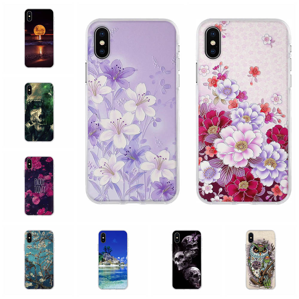For Apple <font><b>iPhone</b></font> X <font><b>A1865</b></font> A1901 Case Ultra-slim Soft TPU Silicone For <font><b>iPhone</b></font> X 10 Cover 3D Floral Patterned For <font><b>iPhone</b></font> Ten Funda image