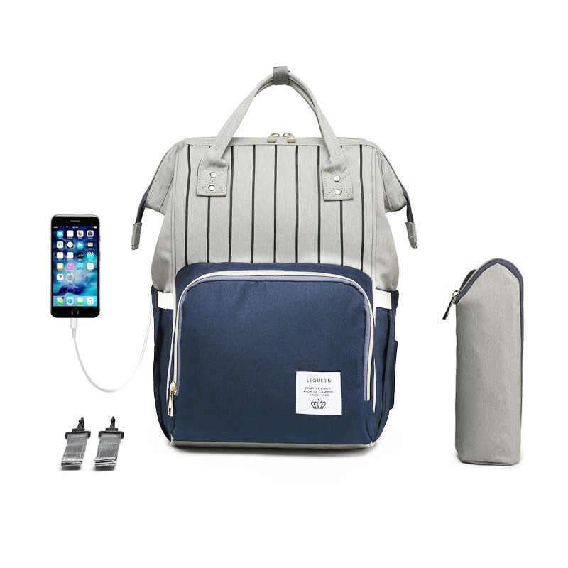 LEQUEEN USB Maternity Stroller Bag Mummy Nappy Handbag Large Capacity Baby Bag Organizer Travel Backpack Handbag Nursing Bag