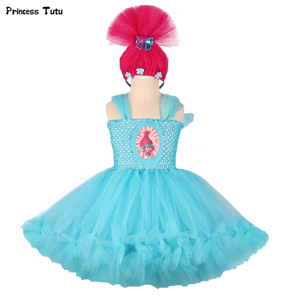 Blue Trolls Dresses for Girls Cosplay Trolls Poppy Costume Halloween Girl Princess Tutu Dress Kids Party Pageant Ball Gown Dress fancy girl mermai ariel dress pink princess tutu dress baby girl birthday party tulle dresses kids cosplay halloween costume