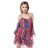 Retro Women Summer Loose Dresses Rainbow Print Fringed Beach Loose Strap Chiffon Dress