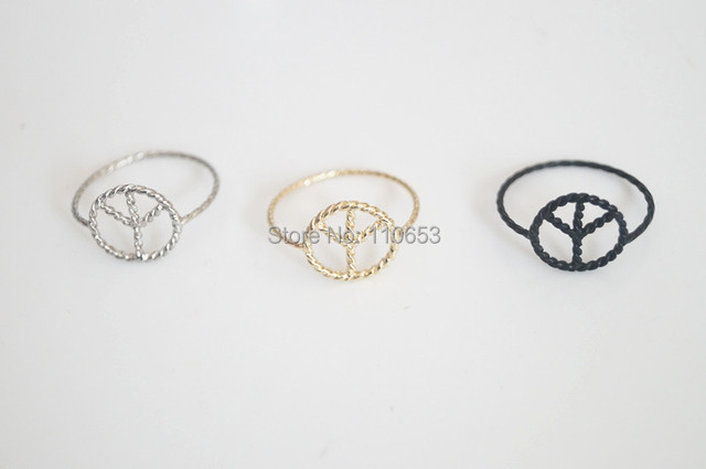 10 pc/lot 2015 new arrival fashion jewelry hot popular metal small alloy peace symbol ring