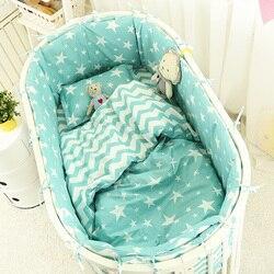 4 unids/set ropa de cama de bebé para cama ovalada, ropa de cuna para recién nacidos, incluye Funda de colchón, almohada, ropa de cama de algodón para niños pequeños