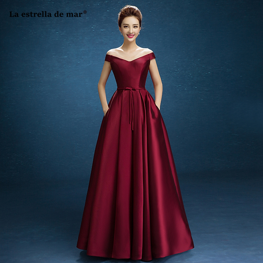 sukienki na wesele damskie 2020 new satin sexy V neck OFF shoulder Burgundy bridesmaid dress long cheap gaun pesta dewasa
