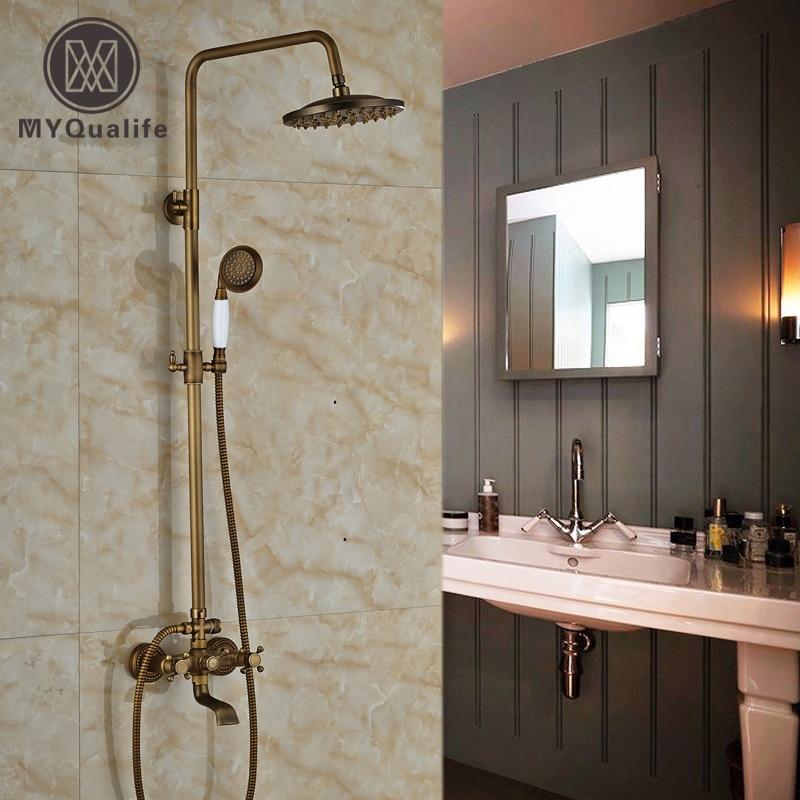 Antique Brass Dual Handles Waterfall Bath Shower Mixer Faucet Wall Mount Shower Tap 8 Rain Showerhead brass antique outdoor shower faucet wall mount 8 rainfall bath shower mixer tap single handle adjust height