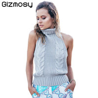 Summer Turtleneck Sleeveless Sweater Virgin Killer Pullovers Japanes Knitted Sexy Backless Women Sweaters And Pullovers SY1474