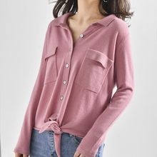 LHZSYY Spring Autumn New Womens Pure Cashmere Cardigan Sweater O Neck Solid Color Wild High-end Jacket Short soft Knit blouse